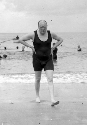 03 Winston Churchill out for a swim.