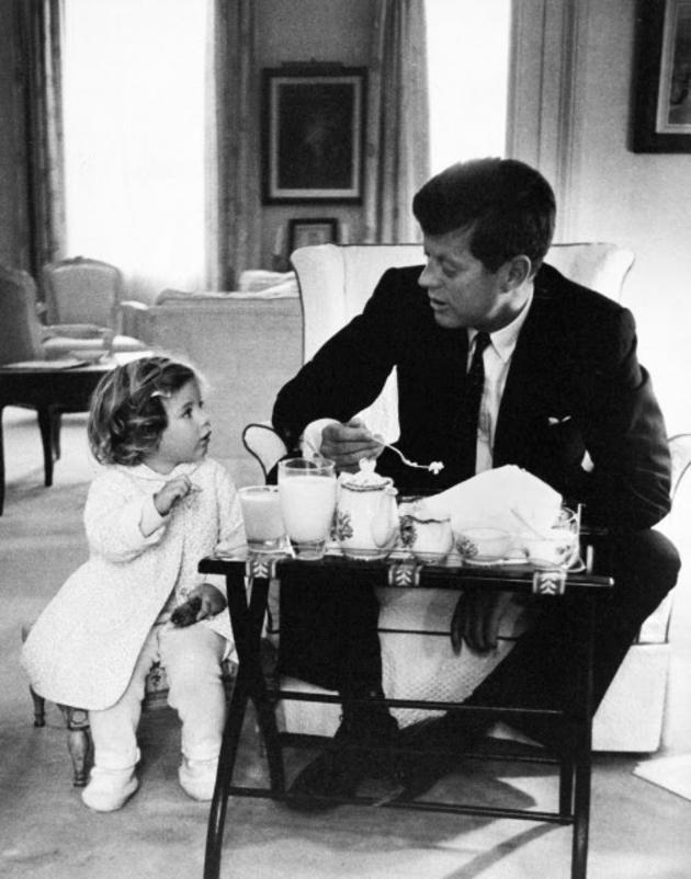 07 John F. Kennedy has a tea party with his daughter
