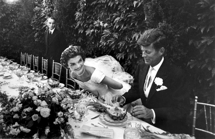 1953 | Senator John Kennedy and his bride, Jacqueline Bouvier Kennedy, smile during their wedding reception, September 12, 1953, in Newport, Rhode Island. Originally published in the September 26, 1953, issue of LIFE.
