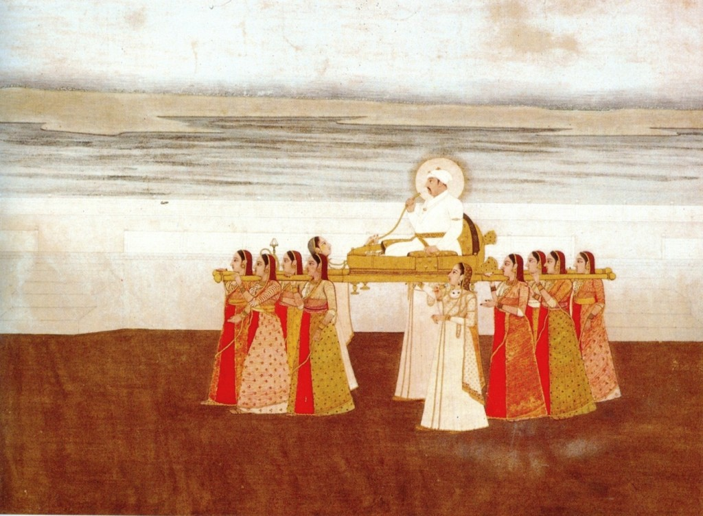 Emperor_Muhammad_Shah_carried_in_a_Palanquin_by_Ladies._ca._1735,_Collection_Kasturbhai_Lalbhai,_Ahmedabad
