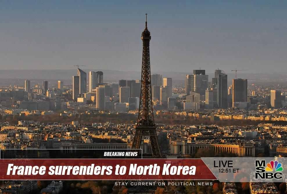 France surrenders to North Korea dr heckle funny fake news headlines