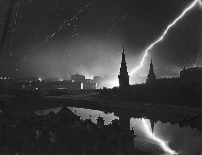German air raid on Moscow in 1941.