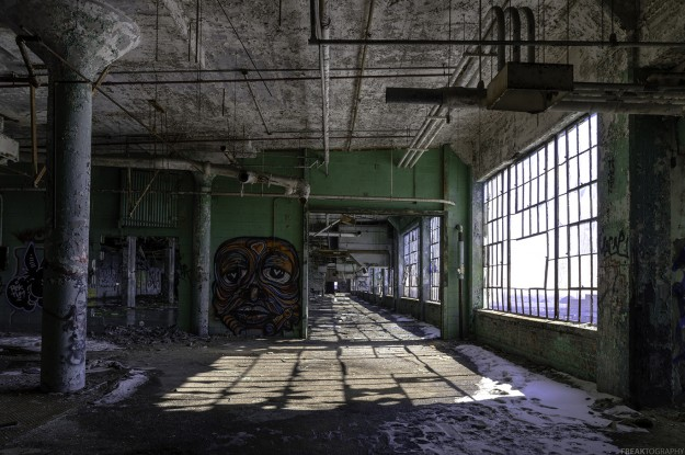 An abandoned industrial plant in Detroit, Michigan