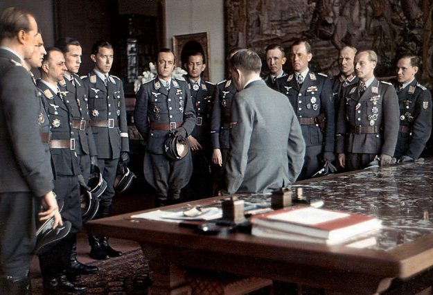 Luftwaffe aces meet Hitler after an awards ceremony at the Berghof, April, 1944