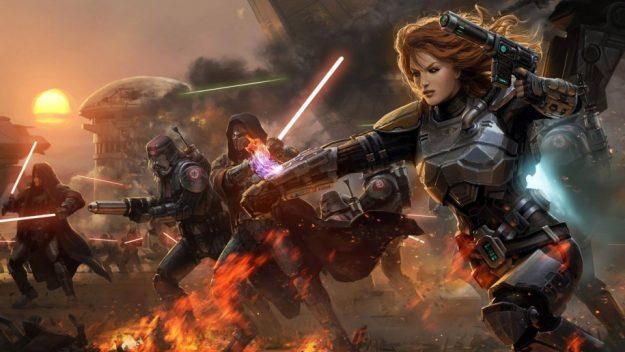 Star-Wars-the-Old-Republic-Girl-Warrior-lightsabers-battle-smoke-Wallpaper-HD-915x515