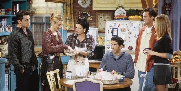 """FRIENDS -- """"The One with Chandler in a Box"""" Episode 8 -- Pictured: (l-r) Matt LeBlanc as Joey Tribbiani, Lisa Kudrow as Phoebe Buffay, Courteney Cox as Monica Geller, David Schwimmer as Ross Geller, Matthew Perry as Chandler Bing, Jennifer Aniston as Rachel Green (Photo by Paul Drinkwater/NBC/NBCU Photo Bank via Getty Images)"""