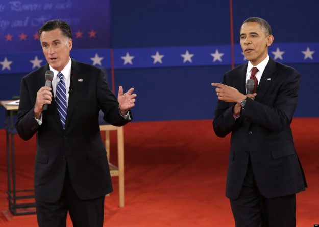 President Barack Obama and Republican presidential nominee Mitt Romney exchange views during the second presidential debate at Hofstra University, Tuesday, Oct. 16, 2012, in Hempstead, N.Y. (AP Photo/Eric Gay)