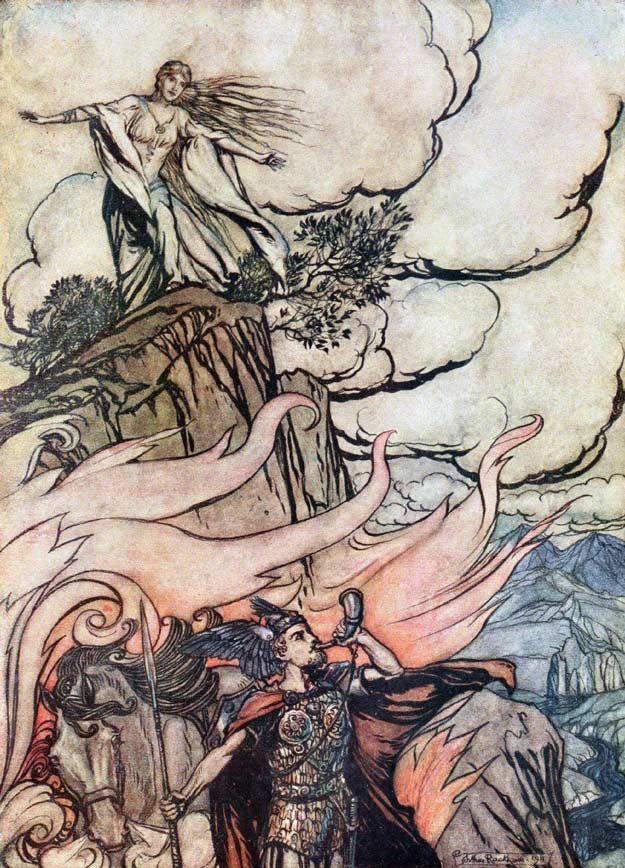 زیگفرید برونهیلده را ترک کرده و به سوی دربار بورگوند میرود (البته اپرای زیگفرید در واقع بر روی قلهای که زیگفرید برونهیلده را بر روی آن بیدار میکند به پایان میرسد و این صحنه متعلق به اپرای «شامگاه خدایان» است)