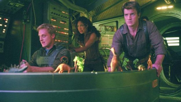 No Merchandising. Editorial Use Only. No Book Cover Usage Mandatory Credit: Photo by Snap Stills/REX Shutterstock (2129157v) Alan Tudyk, Nathan Fillion and Gina Torres Firefly - 2002