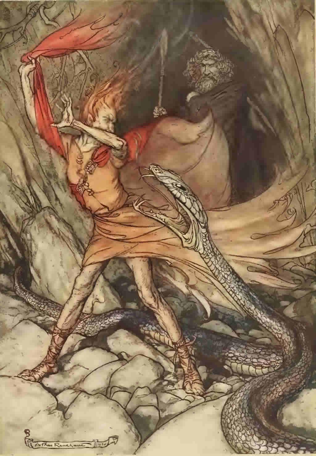 صحنهی سوم: آلبریشبا استفاده از تارنهلم به اژدها تبدیل میشود تا قدرتش را به لوگه و وتان اثبات کند