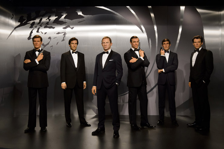 Madame Tussauds London today revealed wax figures of ALL SIX James Bonds, with five completely new wax 007s joining the existing figure of Daniel Craig. To coincide with the release of SPECTRE, the line up of Sean Connery, George Lazenby, Roger Moore, Timothy Dalton, Pierce Brosnan and Daniel Craig will appear at the Legendary London attraction for SIX WEEKS ONLY, before embarking on a tour of Madame Tussauds locations worldwide on December 1. EMBARGOED UNTIL 00:01 FRIDAY.